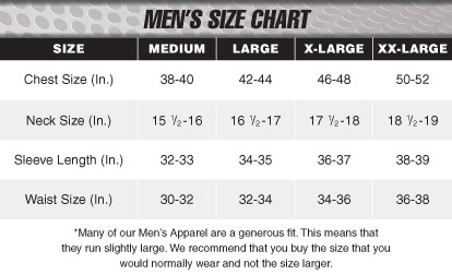 Size Chart - Mens